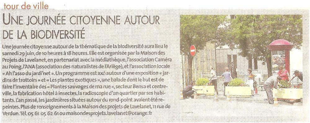 Revue de Presse la dépêche du midi du 1er juin 2019, journée citoyenne autour de la biodiversité à Lavelanet