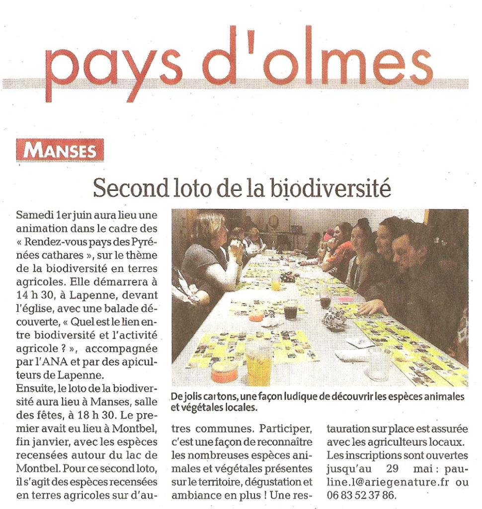 Revue de Presse; La Dépêche Du Midi du 25 mai 2019, Second Loto de la Biodiversité à Manses le 1er Juin 2019