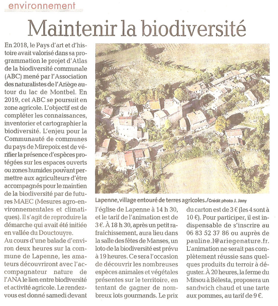 Revue de Presse; La Dépêche Du Midi du 30 Mai 2019, Maintenir la Biodiversité avec l'Ana et le Pays d'Art et d'Histoire