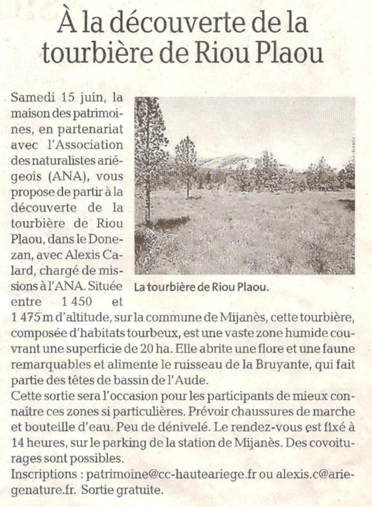 Revue de Presse; La Dépêche Du Midi du 14 juin 2019, Sortie à la découverte de la tourbière de Riou Plaou 15 Juin 2019