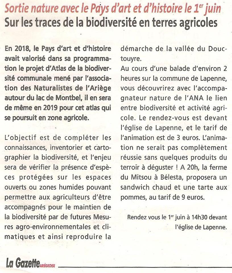 Revue de Presse; La Gazette du 31 mai 2019, une d'histoire le 1er Juin, une sortie sur les traces de la biodiversité en terres agricoles à Lapenne