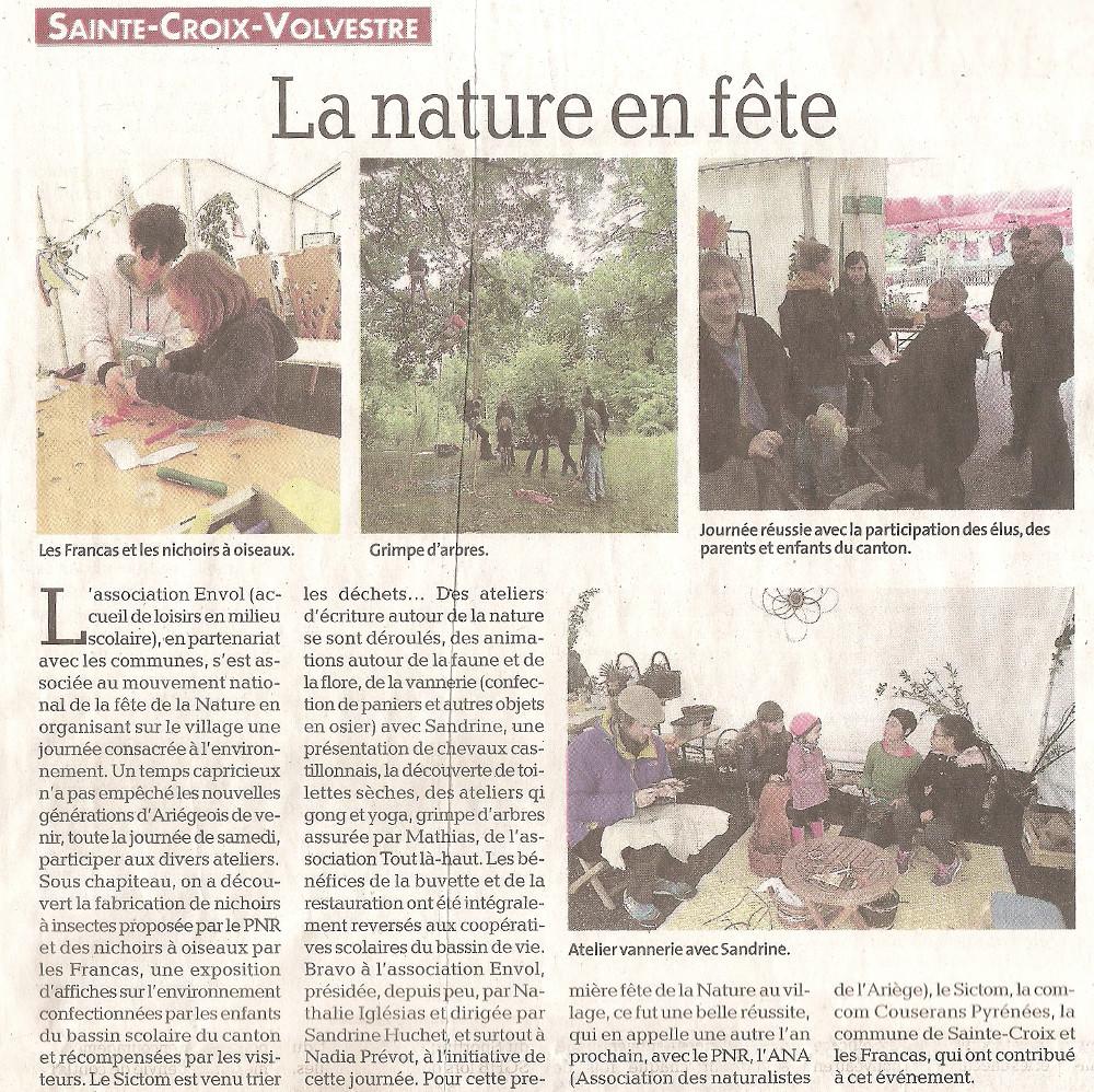 Revue de Presse; La Dépêche Du Midi du 12 juin 2019, La nature en fête, Sainte Croix Volvestre Juin 2019