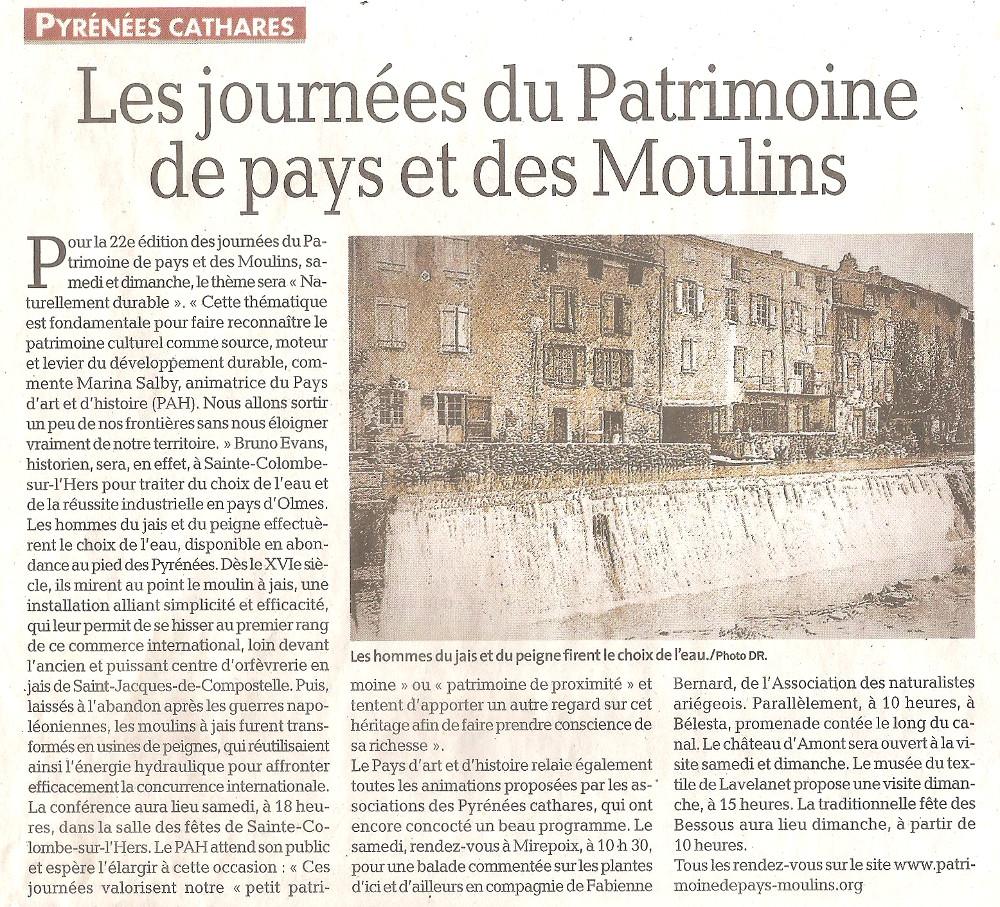 Revue de Presse; La Dépêche Du Midi du 19 juin 2019, Les Journées du patrimoine de pays et des Moulins