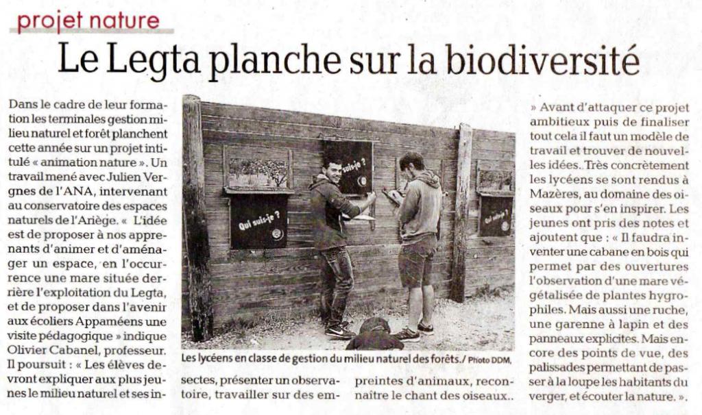 Revue de Presse; La Dépêche Du Midi du 17 octobre 2019; Le Legta planche sur la biodiversité