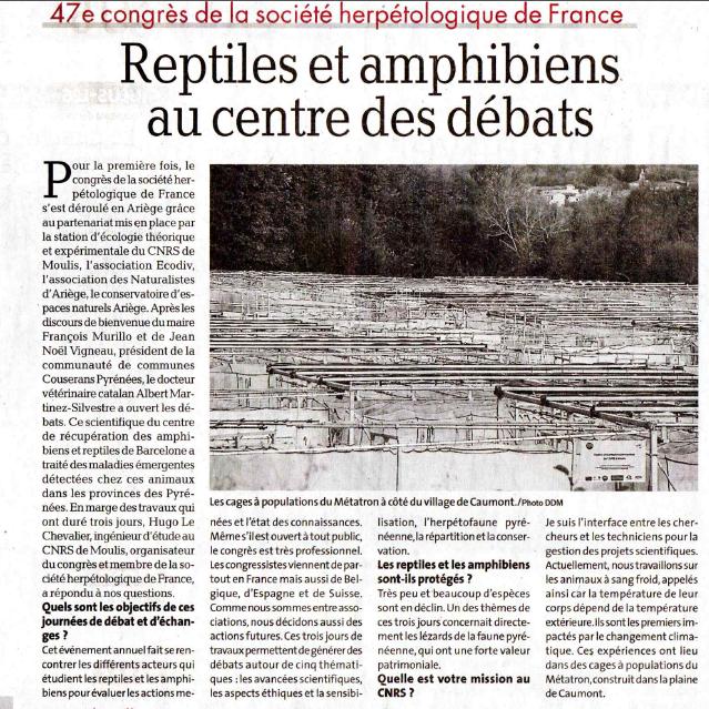 Revue de Presse; La Dépêche Du Midi du 16 octobre 2019; Reptiles et amphibiens au centre du débat