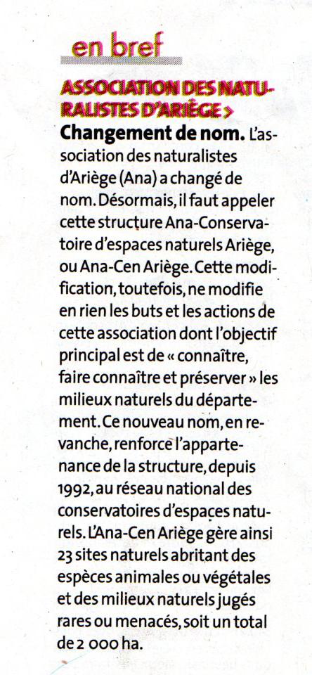 Revue de Presse; La Dépêche Du Midi du 14 novembre 2019; L'Association des naturalistes de l'Ariège change de nom !