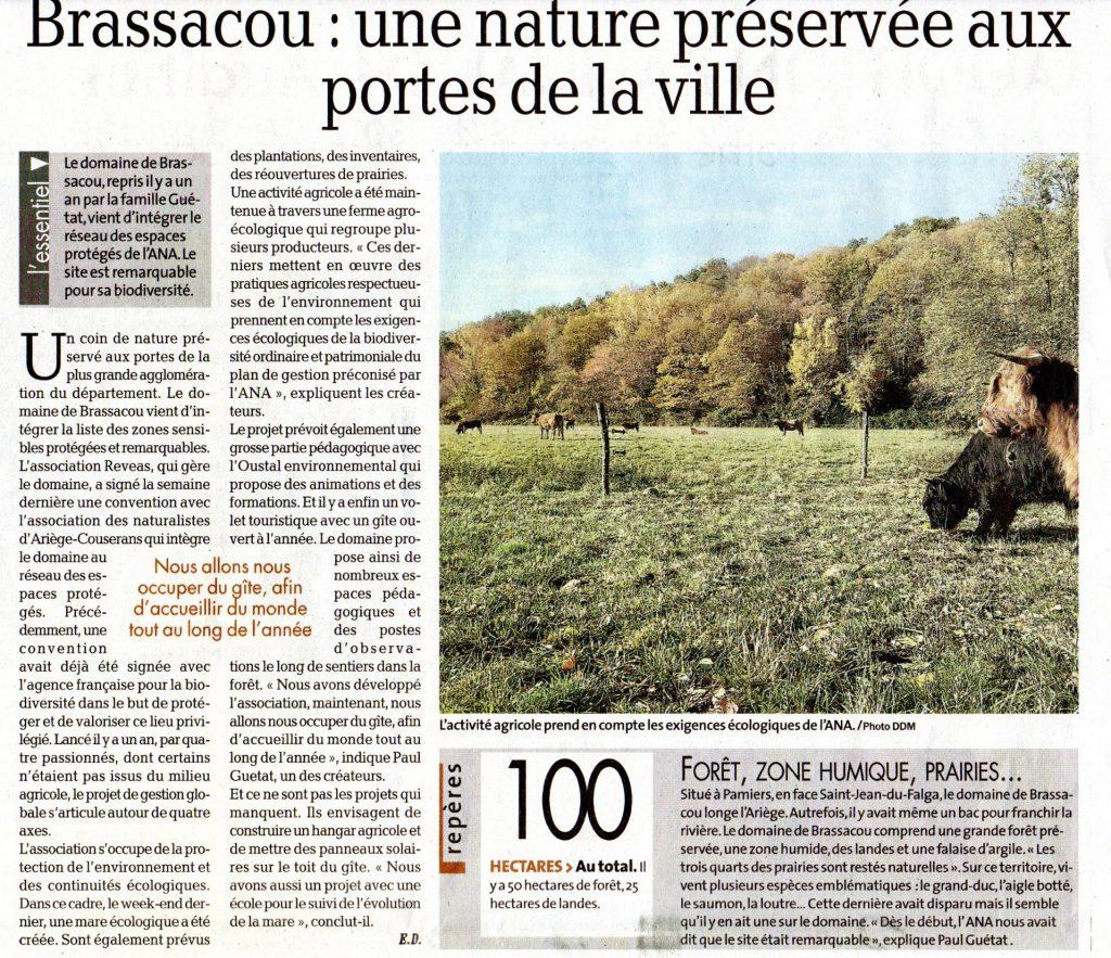 La Dépêche du midi : Brassacou, une nature préservée aux portes de la ville