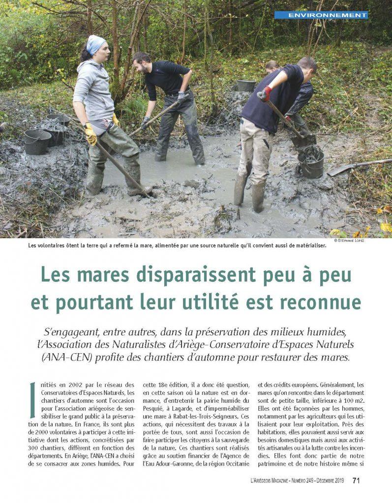 L'Ariégeois magazine - décembre 2019 : Les mares disparaissent peu à peu et pourtant leur utilité est reconnue