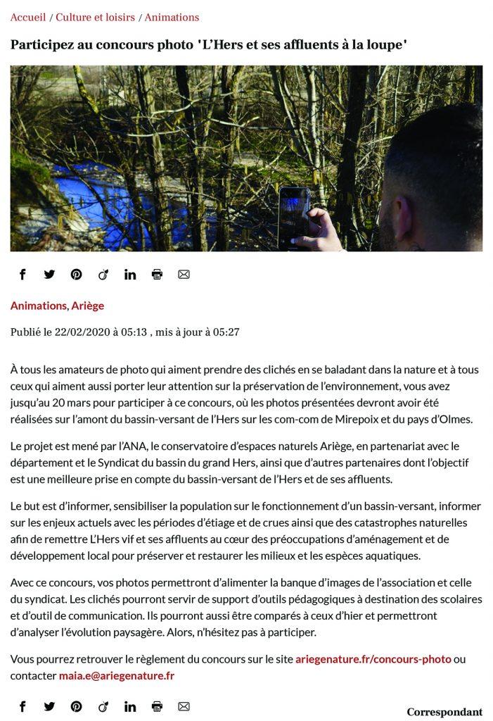 """La Dépêche du midi - 22.02.2020 : Participez au concours photo """"l'Hers et ses affluents à la loupe""""."""