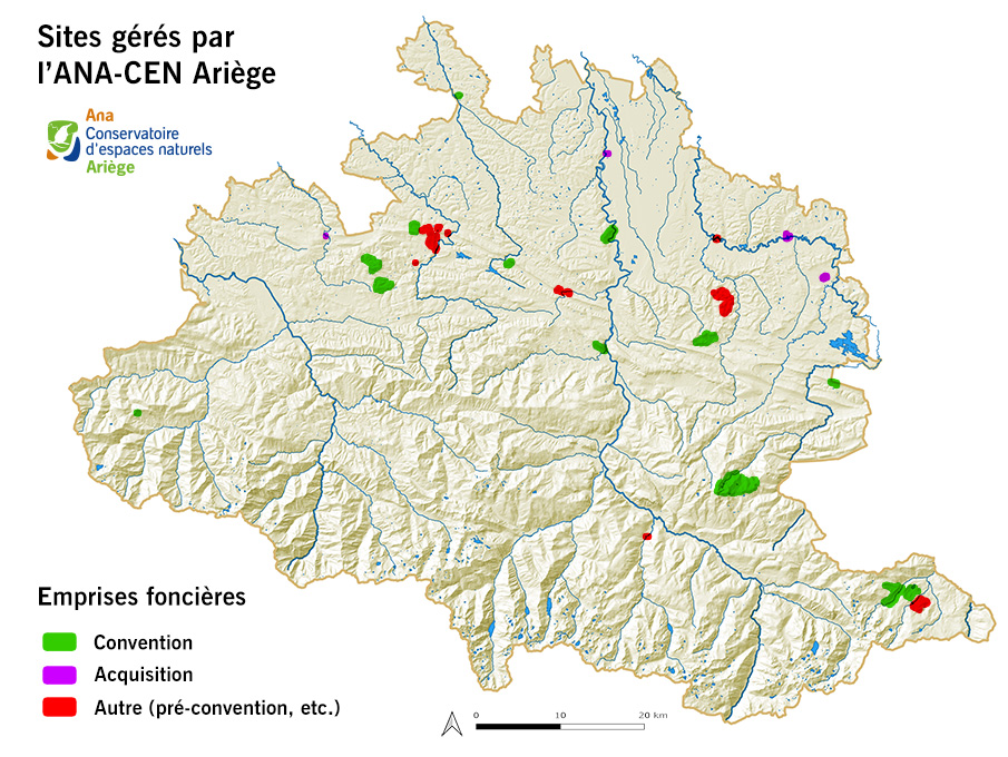 Sites gérés par l'ANA-CEN Ariège